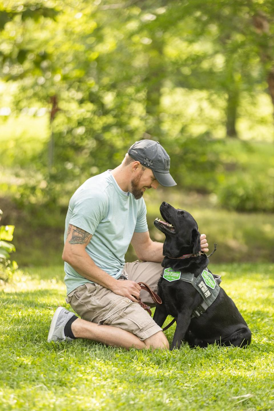 Military veteran Andy and his service dog Thanos participate in the fourth annual Dog Chow Service Dog Salute campaign
