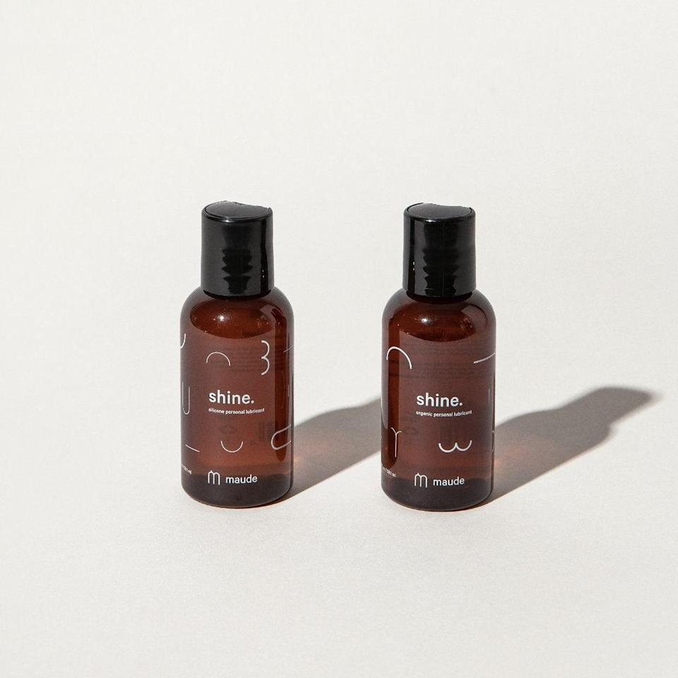"""<h2>Maude Natural Personal Lubricant Travel Duo</h2><br><strong>Best For: Long-Distance Partner<br>Budget: $20</strong><br>Send this 100% organic lubricant duo as a sexy surprise for your long-distance S.O. who could use one bottle for solo fun and save the other for your next in-person reunion. It's safe for use with can be used with toys and condoms too! <br><br><em>Shop <a href=""""https://getmaude.com/collections/all"""" rel=""""nofollow noopener"""" target=""""_blank"""" data-ylk=""""slk:Maude"""" class=""""link rapid-noclick-resp""""><strong>Maude</strong></a></em><br><br><strong>Maude</strong> Shine Duo, $, available at <a href=""""https://go.skimresources.com/?id=30283X879131&url=https%3A%2F%2Fgetmaude.com%2Fproducts%2Fshine-duo"""" rel=""""nofollow noopener"""" target=""""_blank"""" data-ylk=""""slk:Maude"""" class=""""link rapid-noclick-resp"""">Maude</a>"""