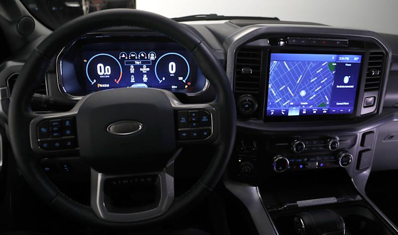 The 12-inch productivity screen and 12-inch center touchscreen in the all new 2021 Ford-150 Limited as seen in a photo studio in Ferndale, Michigan on Wednesday, June 24, 2020.
