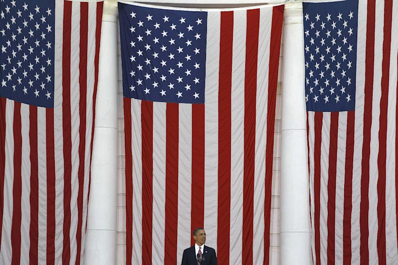 President Barack Obama speaks at the Memorial Day Observance at the Memorial Amphitheater at Arlington National Cemetery, Monday, May 28, 2012. (AP Photo/Charles Dharapak)