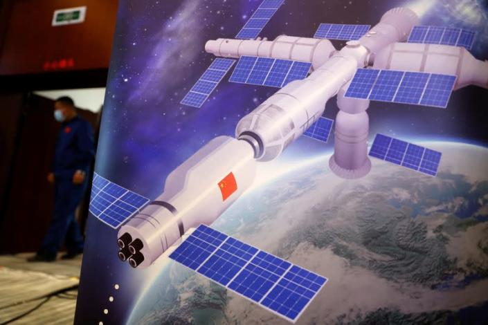News conference before the launch of Long March-2F Y13 rocket, near Jiuquan