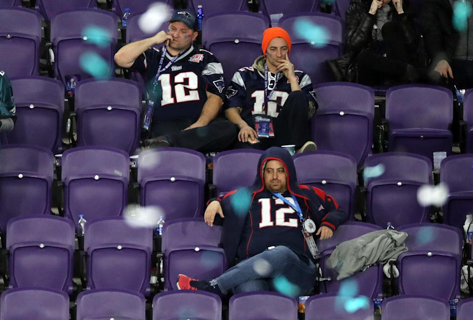 <p>Dejected New England Patriots fans during 4th quarter of Super Bowl LII. The New England Patriots play the Philadelphia Eagles in Super Bowl LII at US Bank Stadium in Minneapolis on Feb. 4, 2018. (Photo by Stan Grossfeld/The Boston Globe via Getty Images) </p>