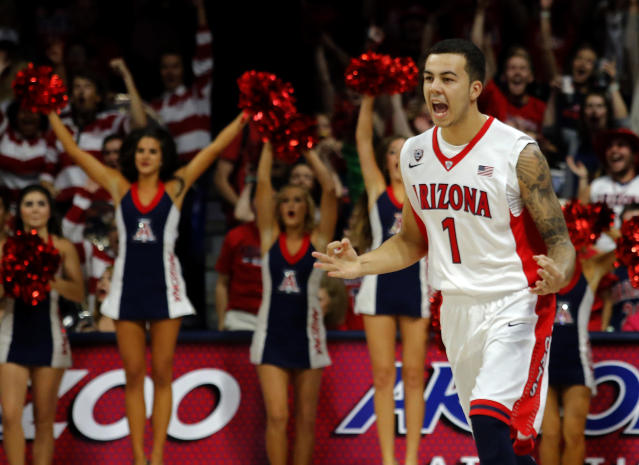 Arizona guard Gabe York reacts after scoring against Mount St. Mary's during the first half of an NCAA college basketball game, Friday, Nov. 14, 2014, in Tucson, Ariz. (AP Photo/Rick Scuteri)
