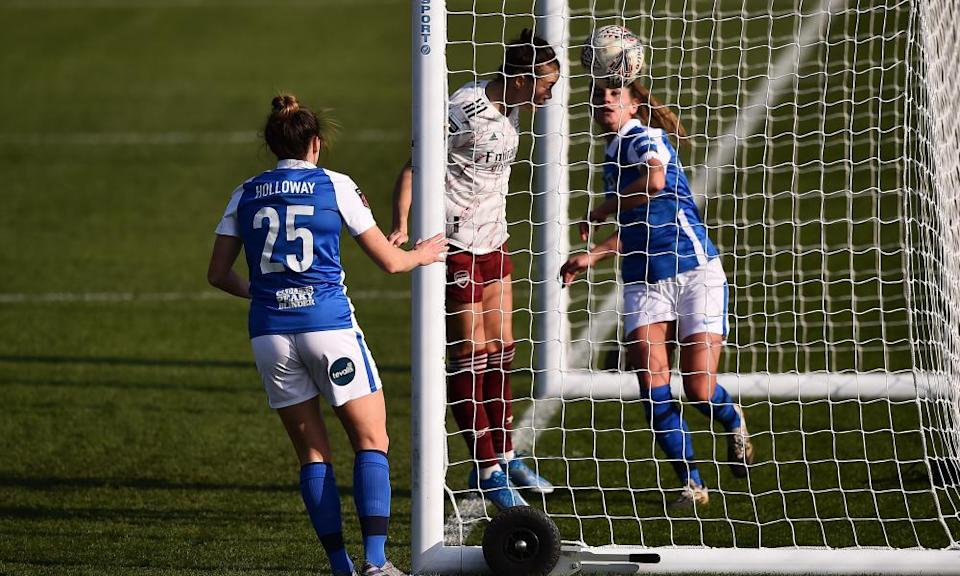 Caitlin Foord scores Arsenal's first goal with a header on the goalline in the 4-0 win over Birmingham.