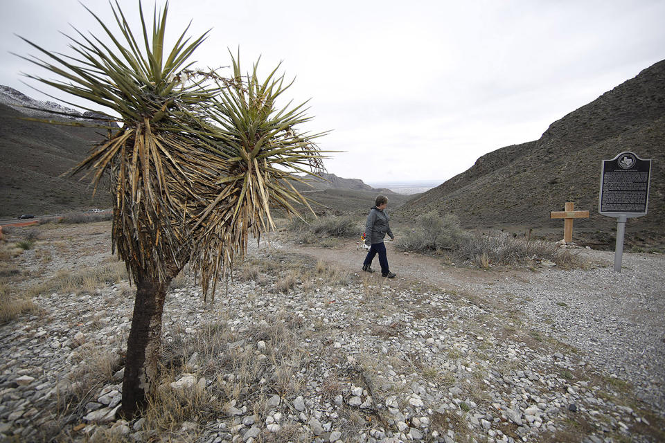 In this Wednesday, March 4, 2020, photograph, a hiker sets off on a trail through Franklin Mountains State Park near El Paso, Texas. With the spread of the new coronavirus, people have turned to the great outdoors for exercise and entertainment in these turbulent times. The new coronavirus causes mild or moderate symptoms for most people, but for some, especially older adults and people with existing health problems, it can cause more severe illness or death. (AP Photo/David Zalubowski)