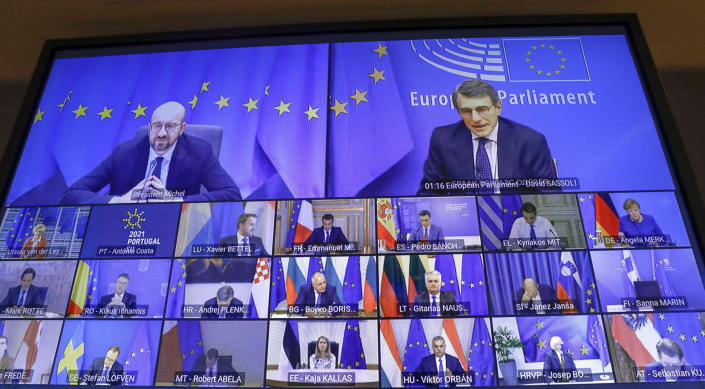 European Council President Charles Michel, top screen left, takes part in an EU Summit, via videoconference link, at the European Council building in Brussels, Thursday, Feb. 25, 2021. European Union leaders are gathering Thursday, via videoconference link, to try to inject new energy into the 27-nation bloc's lagging coronavirus vaccination effort as concern mounts that new variants might spread faster than authorities can adapt. (Olivier Hoslet, Pool via AP)
