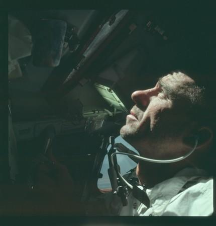FILE PHOTO: Astronaut Walter Cunningham, Apollo 7 lunar module pilot, is photographed during the Apollo 7 mission in this NASA handout photo