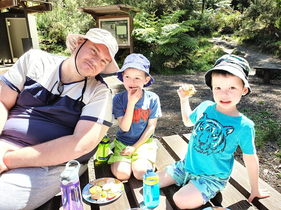 Craig Marchant, pictured with two of his sons, has been battling his own mental health issues since he was 12. Source: Supplied