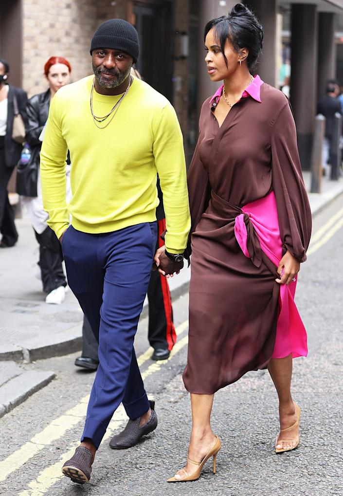 <p>Idris Elba and Sabrina Dhowre Elba attend the Roland Mouret show at the Soho Hotel during London Fashion Week on Sept. 19.</p>