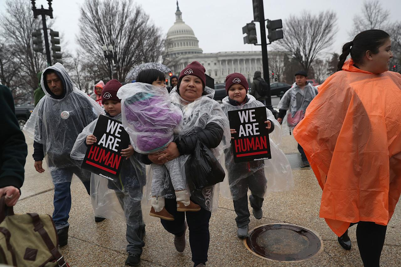 <p>Immigration activists march in front of the U.S. Capitol on Feb. 7, 2018 in Washington, D.C. (Photo: John Moore/Getty Images) </p>