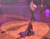 <p>The actress suffered a second (oof) awkward mishap when her shoe accidentally fell off during a spin with partner Maksim. Despite the clunkiness of having to fix her footwear mid-dance, the team recovered and still earned a 22 out of 30 from the judges. </p>
