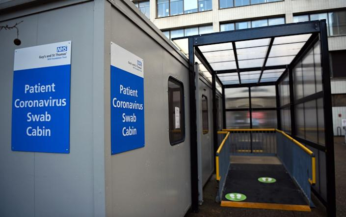 A Covid-19 test cabin at St.Thomas's Hospital in London, Britain - Andy Rain/EPA-EFE/Shutterstock