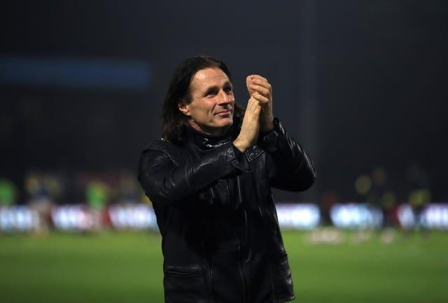 Wycombe manager Gareth Ainsworth applauds returning fans before his side's Championship match against Stoke on December 2, 2020