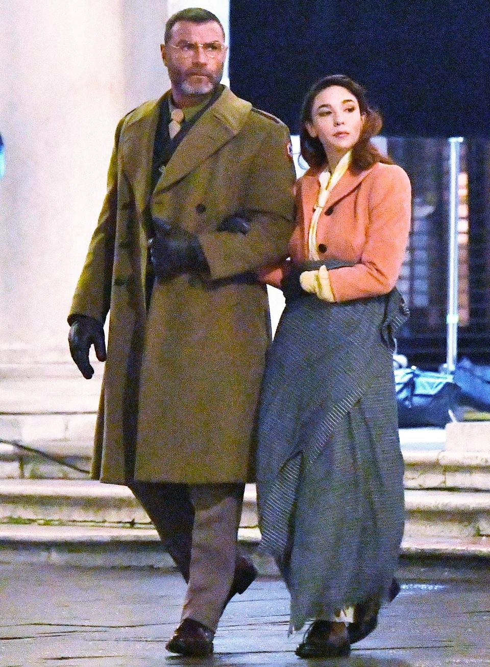 <p>Liev Schreiber and Matilda De Angelis are seen in full character on the set of <em>Across the River and into the Trees</em> in Venice, Italy on Monday.</p>