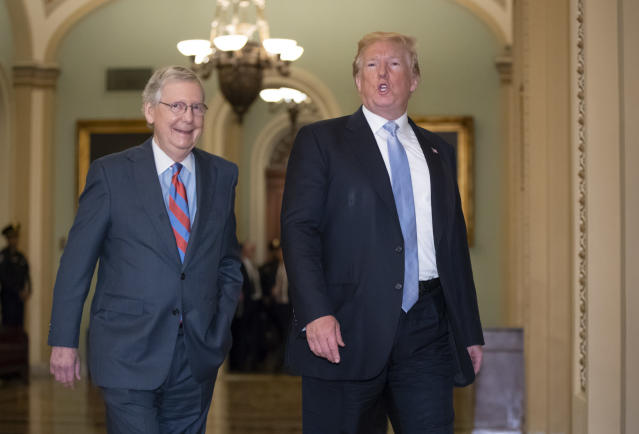 President Trump with Senate Majority Leader Mitch McConnell. (Photo: J. Scott Applewhite/AP)