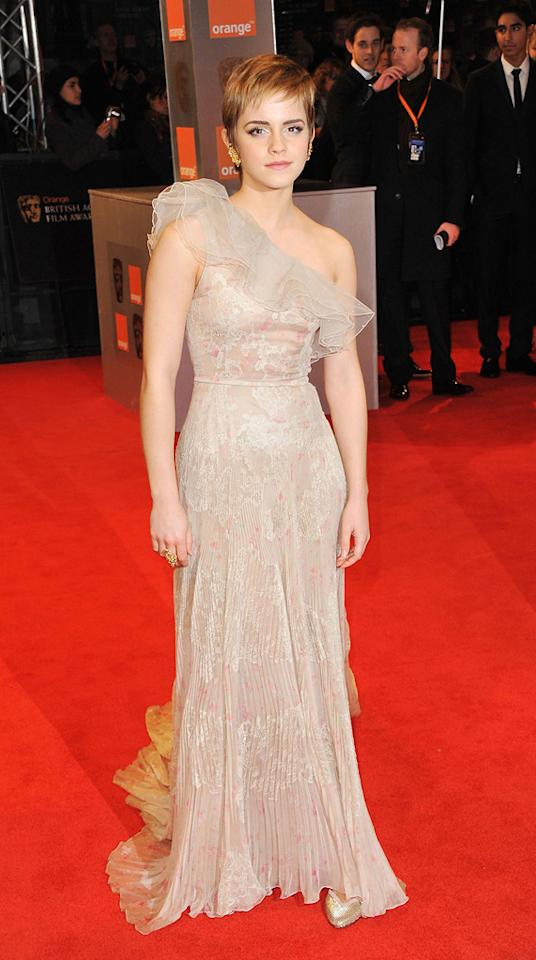 2011  Orange British Academy Film Awards   Her one-shoulder floral Valentino and heavy earrings are more matronly than must-have.
