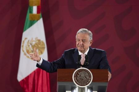 Mexico's President Andres Manuel Lopez Obrador speaks during his daily news conference at National Palace in Mexico City