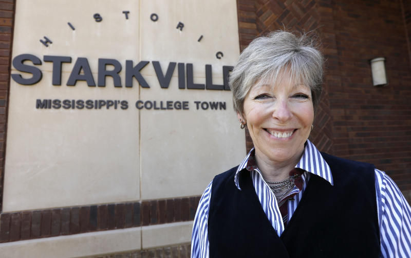 Starkville Mayor Lynn Spruill is photographed outside her city hall office, Thursday, Feb. 22, 2018 in Starkville, Miss. Spruill is disappointed at the Starkville aldermen votied 4-3 Tuesday to deny a parade permit requested by Starkville Pride, an LGBT support group, for a gay pride parade. (AP Photo/Rogelio V. Solis)