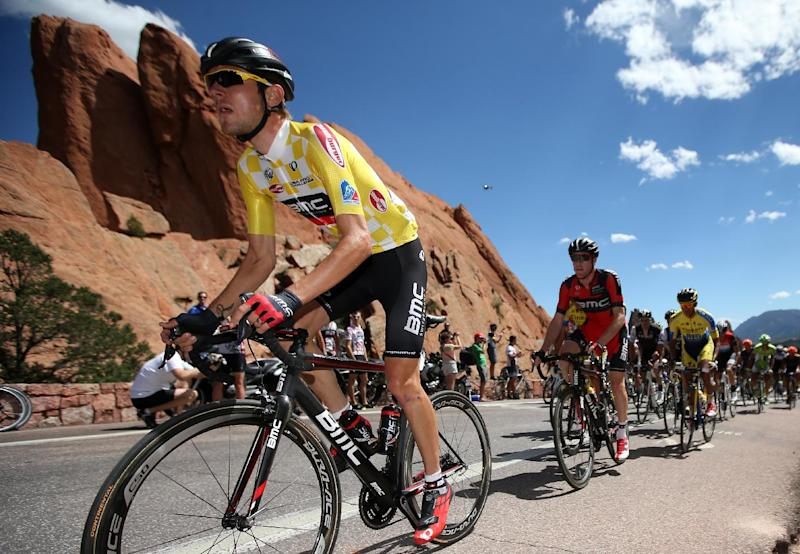Tejay van Garderen of the United States riding for the BMC Racing Team rides through the Garden of the Gods during stage four of the 2014 USA Pro Challenge on August 21, 2014 in Colorado Springs, Colorado (AFP Photo/Chris Graythen)