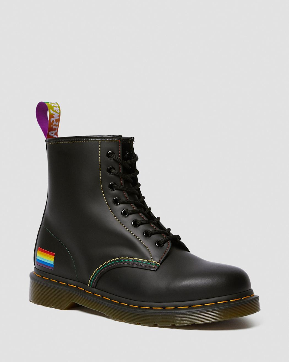"<a href=""https://www.drmartens.com/us/en/pride"" rel=""nofollow noopener"" target=""_blank"" data-ylk=""slk:Dr. Martens"" class=""link rapid-noclick-resp""><h2>Dr. Martens</h2></a> <br>To celebrate Pride, Dr. Martens dropped its signature 1460 boots stitched with the rainbow flag, as well as donated $25,000 to <a href=""https://www.thetrevorproject.org/"" rel=""nofollow noopener"" target=""_blank"" data-ylk=""slk:The Trevor Project"" class=""link rapid-noclick-resp"">The Trevor Project</a>, the world's largest suicide prevention and crisis intervention organization for LGBTQ+ young people.<br><br><strong>Dr. Martens</strong> 1460 Pride Smooth Leather Lace-Up Boots, $, available at <a href=""https://go.skimresources.com/?id=30283X879131&url=https%3A%2F%2Fwww.drmartens.com%2Fus%2Fen%2Fp%2F25701001"" rel=""nofollow noopener"" target=""_blank"" data-ylk=""slk:Dr. Martens"" class=""link rapid-noclick-resp"">Dr. Martens</a><br>"