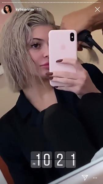 In her Instagram Story late Tuesday night, Kylie Jenner shared a video of a new silver bob haircut, mere hours after reminiscing about her darker locks.