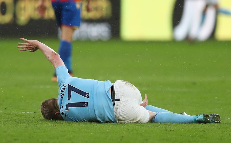 Kevin De Bruyne was injured by a Jason Puncheon tackle. More