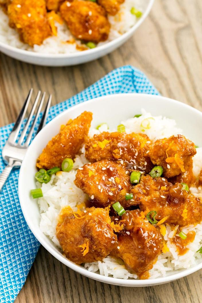 """<p>This sauce is AMAZING.</p><p>Get the recipe from <a href=""""https://www.delish.com/cooking/recipe-ideas/recipes/a46657/skinny-orange-chicken-recipe/"""" rel=""""nofollow noopener"""" target=""""_blank"""" data-ylk=""""slk:Delish"""" class=""""link rapid-noclick-resp"""">Delish</a>.</p>"""