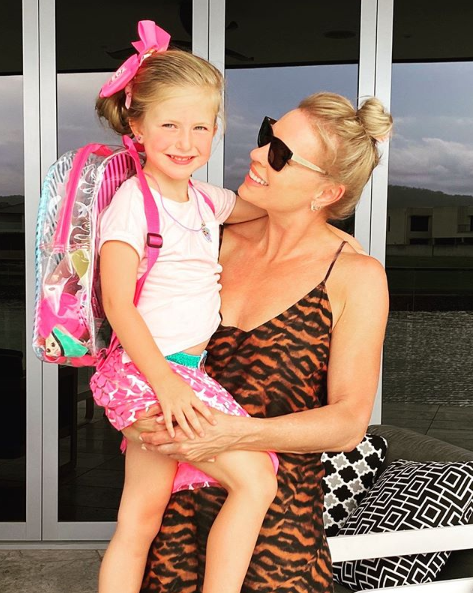 Sonia Kruger and daughter Maggie, 5, on her birthday