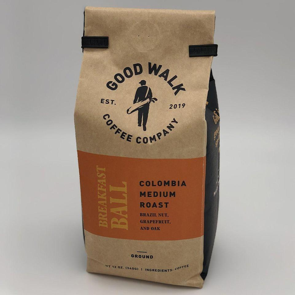 """<p>goodwalkcoffee.com</p><p><strong>$14.99</strong></p><p><a href=""""https://goodwalkcoffee.com/collections/coffees/products/breakfast-ball-colombian-medium-roast-coffee?variant=30250192273543"""" rel=""""nofollow noopener"""" target=""""_blank"""" data-ylk=""""slk:BUY IT HERE"""" class=""""link rapid-noclick-resp"""">BUY IT HERE</a></p><p>I love a nice, early tee time so you can get to the course and take your time looking for all the balls you're going to slice into the woods. But without a hot cup of coffee, there's no chance I'm making it out to my golf cart. And if you're going to brew a pre-round cup, why not reach for a blend that's themed around golf?</p>"""