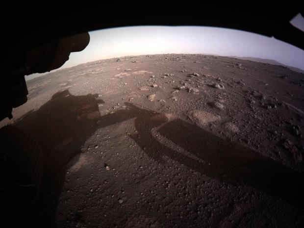 This is the first colour image sent by the Perseverance Mars rover after its landing.