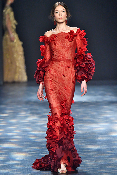 Marchesa red floral roses gown