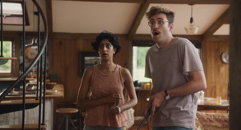 Sunita Mani as Su and John Reynolds as Jack in Save Yourselves!
