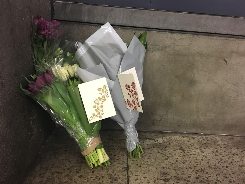 <strong>Flowers and cards from Labour leader Jeremy Corbyn and his staff, left by a member of his team at the underpass of exit three at Westminster Underground station</strong> (Photo: PA Wire/PA Images)