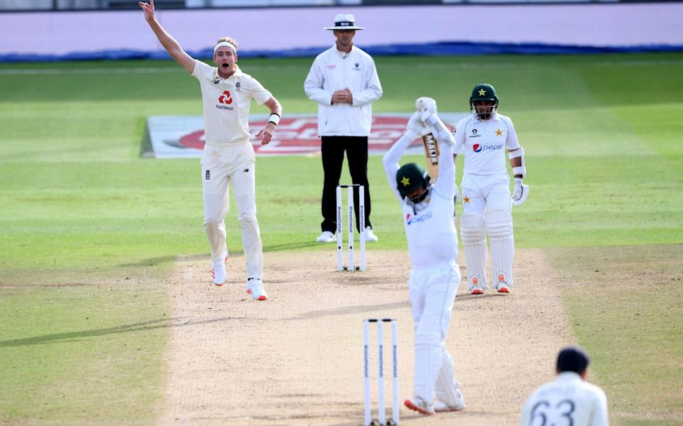 Stuart Broad unsuccessfully appeals for the wicket of Pakistan captain Azhar Ali - PA