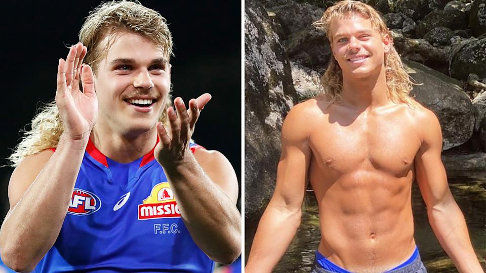 Western Bulldogs star Bailey Smith has become a fan-favourite on Instagram, but the 20-year-old says the massive following has taken a toll on his mental health. Pictures: Getty Images/Instagram