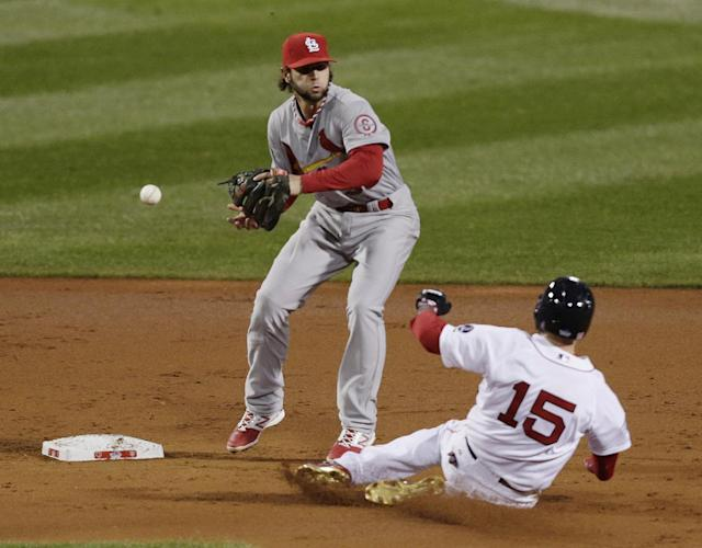 St. Louis Cardinals' Pete Kozma can't handle a throw as Boston Red Sox's Dustin Pedroia slides into second during the first inning of Game 1 of baseball's World Series Wednesday, Oct. 23, 2013, in Boston. (AP Photo/Charles Krupa)