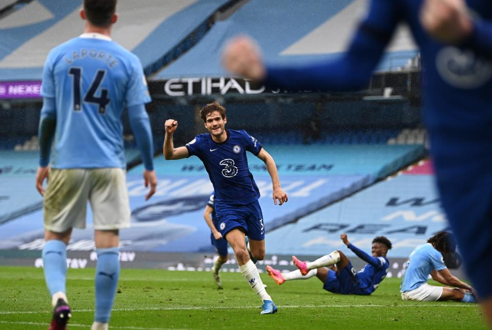 Marcos Alonso of Chelsea celebrates after scoring against Manchester City (Getty)
