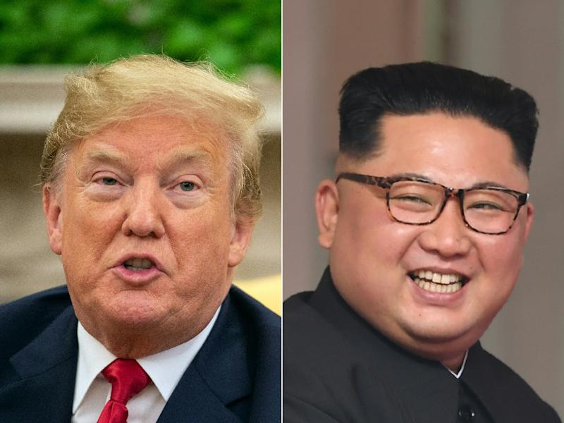 US President Donald Trump points to progress in defusing tension with North Korea since his summit with Kim Jong-un, right, but a new study says it maintains at least 13 undeclared missile bases