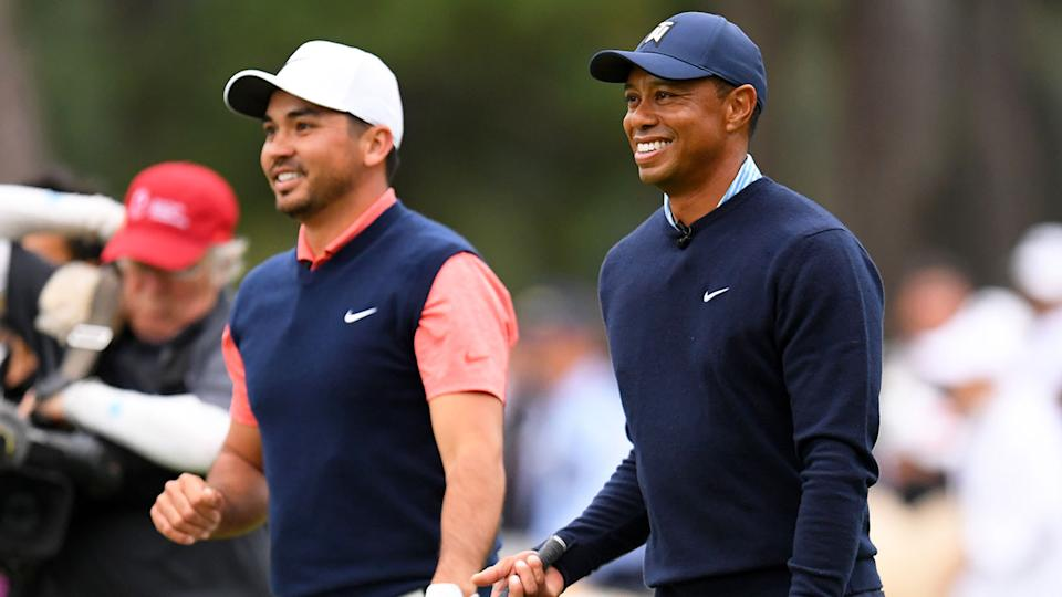 Pictured here, Jason Day and Tiger Woods share a laugh together on the golf course.