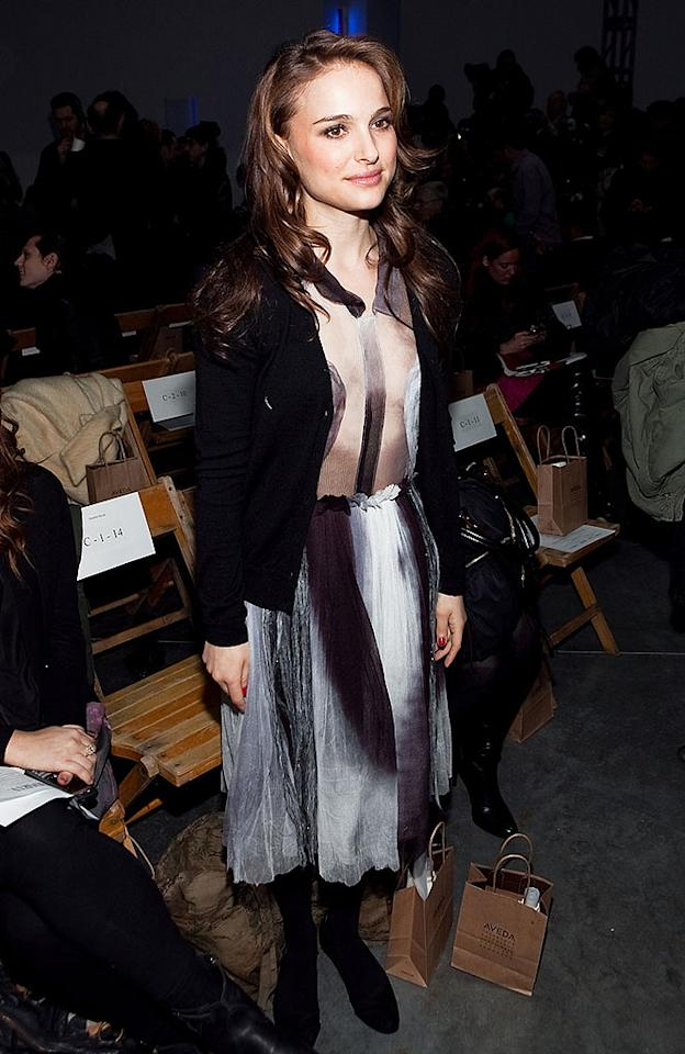 "A longtime fan of the brand, Natalie Portman showed her support for Rodarte by wearing a chic silver patterned dress by the designers. Paul Morigi/<a href=""http://www.wireimage.com"" target=""new"">WireImage.com</a> - February 16, 2010"