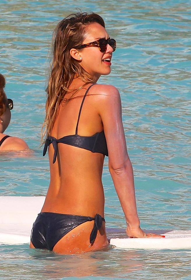 Jessica Alba looking stunning in a bikini as she continues her Caribbean vacation in St Barths.