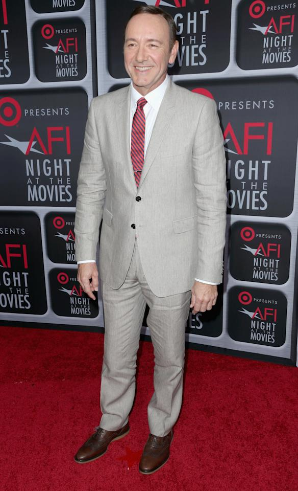 HOLLYWOOD, CA - APRIL 24:  Actor Kevin Spacey arrives on the red carpet for Target Presents AFI's Night at the Movies at ArcLight Cinemas on April 24, 2013 in Hollywood, California.  (Photo by Frederick M. Brown/Getty Images)