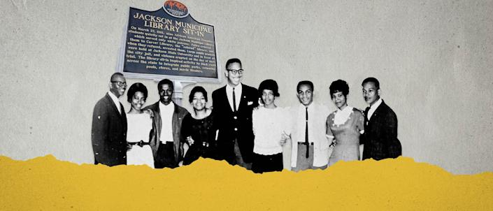 """These nine Tougaloo College students held the first """"read-in"""" in Mississippi when they attempted to desegregate the all-white Jackson Public Library. The Tougaloo Nine are, from left, Joseph Jackson, Geraldine Edwards, James Cleo Bradford, Evelyn Pierce, Albert Lassiter, Ethel Sawyer, Meredith C. Anding Jr., Janice L. Jackson and Alfred Lee Cook."""