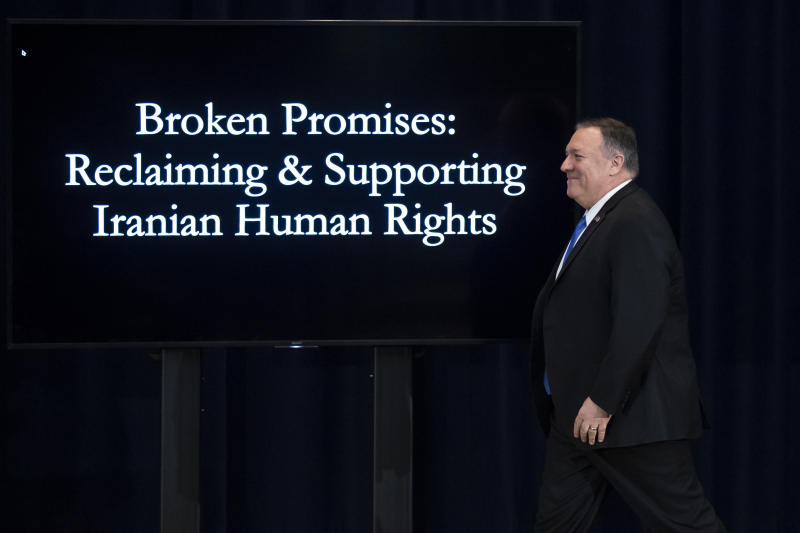 Secretary of State Mike Pompeo arrives to deliver remarks on human rights in Iran at the State Department in Washington, Thursday, Dec. 19, 2019. (AP Photo/Matt Rourke)