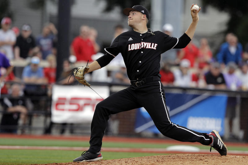 FILE - In this June 7, 2019, file photo, Louisville's Reid Detmers throws during the sixth inning in Game 1 of an NCAA college baseball super regional tournament against East Carolina, in Louisville, Ky. Detmers is expected to be an early selection in the Major League Baseball draft. (AP Photo/Darron Cummings, FIle)