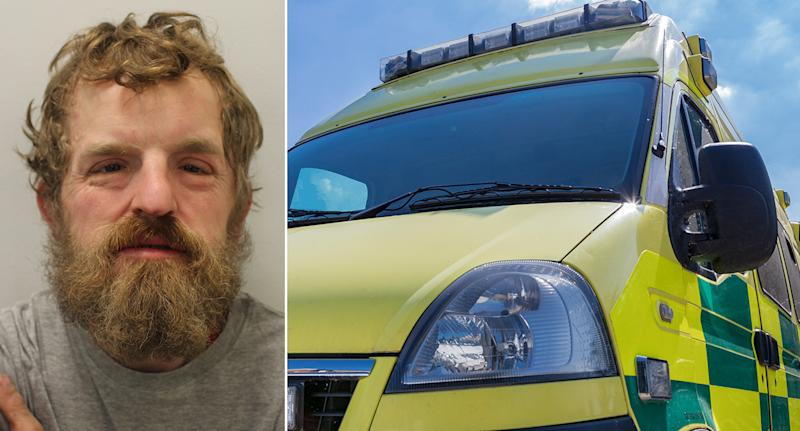 Mark Manley, 35, of no fixed address, was jailed for six months at Croydon Magistrates' Court for stealing PPE equipment from an ambulance. (Pictures: PA/Getty)