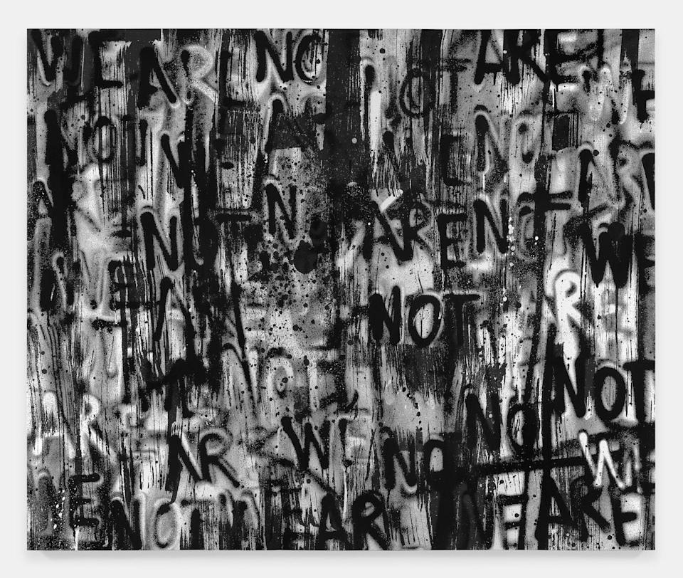 Adam Pendleton, Untitled (WE ARE NOT), 2021. Silk-screen ink on canvas, 120×144 inches.