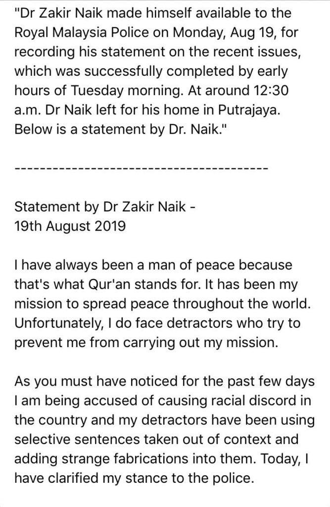 Zakir Naik issues apology to non-Muslims for being offended