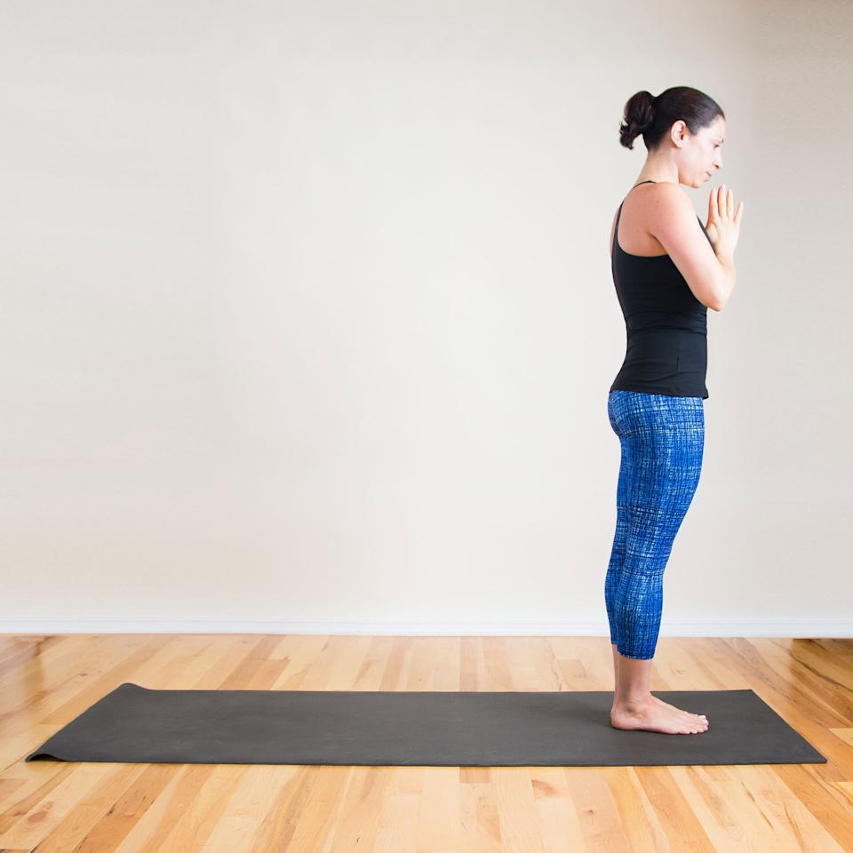 """<p>You can do a simple Mountain Pose anywhere and anytime, said yogi <a href=""""http://www.yogaanita.com/"""" target=""""_blank"""" class=""""ga-track"""" data-ga-category=""""Related"""" data-ga-label=""""http://www.yogaanita.com/"""" data-ga-action=""""In-Line Links"""">Anita Perri</a>. It's simple """"but so beneficial for the mind and body,"""" providing a lengthening and posture-improving stretch in your feet, legs, and spine.</p> <ul> <li>Stand with your feet hip-width apart and your hands by your sides or pressed together in front of your chest as pictured.</li> <li>Elongate through your torso, engaging your core and staying strong from your thighs. Imagine that you're lengthening your whole body through the crown of your head.</li> <li>Take at least five deep breaths.</li> </ul>"""