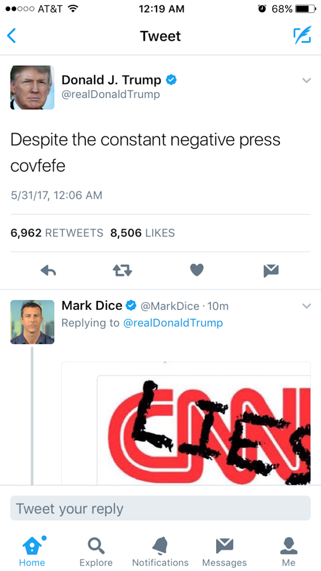 Donald Trump tweeted out a new word: covfefe. (Image: Twitter)